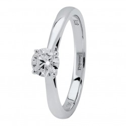 18ct White Gold Four Claw Basket-Set Diamond Solitaire Ring (min 0.50ct) CR11066/18KW/.50CT