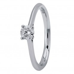 18ct White Gold Four Claw Cathedral-Set Diamond Solitaire Ring (min 0.30ct) CR11067/18KW/.33CT M