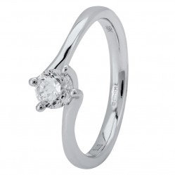 18ct White Gold Four Claw Petite-Trellis Twist Diamond Solitaire Ring (min 0.50ct) CR11068/18KW/.50CT
