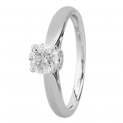 18ct White Gold 1.00ct Diamond Bridge Accent Solitaire Ring SKR17230-100