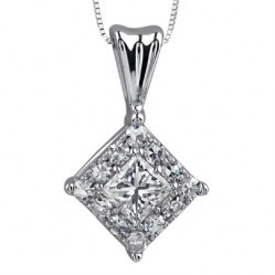 9ct White Gold Princess-cut Diamond Cluster Pendant P2850W-13C-9