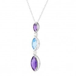 9ct White Gold Amethyst, Blue Topaz and Diamond Pendant CP7192 9KW-AMY-BT