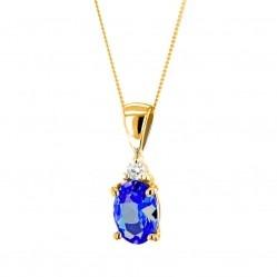 9ct Gold Oval Sapphire and Diamond Pendant K40-9455-02