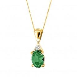 9ct Gold Oval Emerald and Diamond Pendant K40-9455-04
