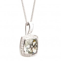 9ct White Gold Green Amethyst and Diamond Pendant 9DP332-GAM-W