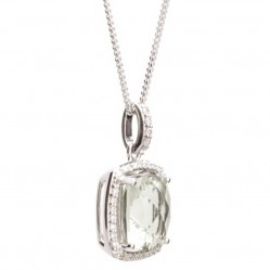9ct White Gold Green Amethyst and Diamond Pendant 9DP333-GAM-W