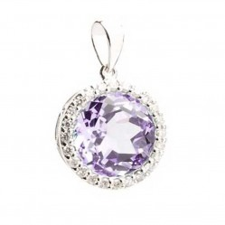 9ct White Gold Amethyst and Diamond Round Pendant 9DP319/AM/W