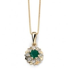 9ct Gold Emerald and Diamond Flower Cluster Pendant GP916G GN141