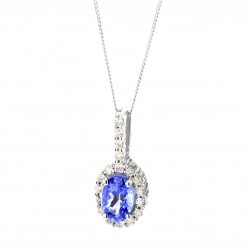 9ct White Gold Oval Tanzanite and Diamond Cluster Pendant DTP239-TANZ