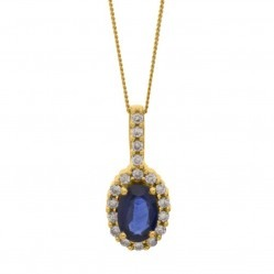 9ct Yellow Gold Oval Sapphire and Diamond Cluster Pendant DSP239-SAPP