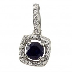 9ct White Gold Round Sapphire and Diamond Cluster Pendant SKP11652-50