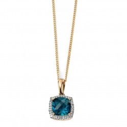 9ct Gold London Blue Topaz and Diamond Cluster Pendant GP964T GN141