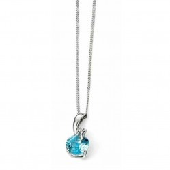 9ct White Gold Blue Topaz and Diamond Twist Pendant GP969T GN151