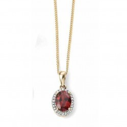 9ct Gold Oval Garnet and Diamond Cluster Pendant GP970R GN141