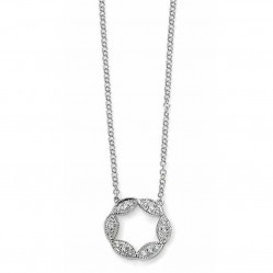 9ct White Gold Diamond Open Circle Necklace GN227