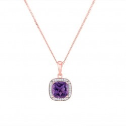 14ct Rose Gold Square Amethyst Diamond Cluster Pendant SKP12117-A 14CT