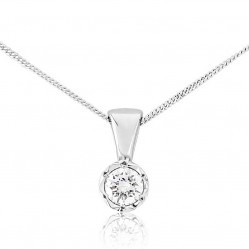 9ct White Gold Illusion Set Diamond 0.20ct Pendant 5327P/9W/DQ1020