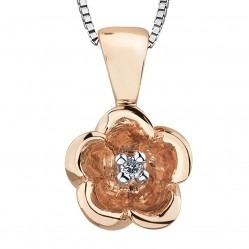 9ct Rose Gold Diamond 0.01ct Flower Pendant P3164RC-10
