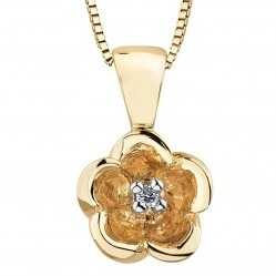9ct Gold Diamond 0.01ct Flower Pendant P3164C-10