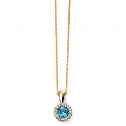 9ct Gold Blue Topaz and Diamond Round Cluster Pendant GP2002T GN141