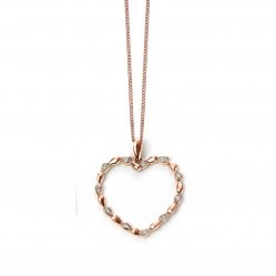 9ct Rose Gold-Plated Diamond Open Heart Pendant GP999 GN219
