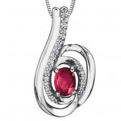 9ct White Gold Ruby and Diamond Swirl Pendant P3417WC-10-RUBY