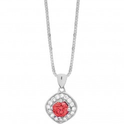 9ct White Gold Round Garnet and Diamond Pendant P2912WC-10-GARNET