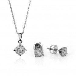 9ct White Gold Diamond Jewellery Set SKS16518-50 9CT