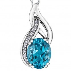 9ct White Gold Blue Topaz and Diamond Twist Pendant P3500WC-10
