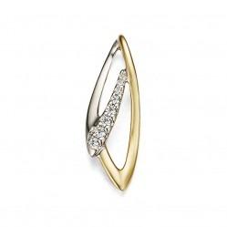 9ct Two Colour Gold Diamond Ellipse Pendant 33.09270.002