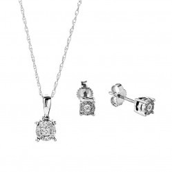 9ct White Gold Diamond Pendant and Earring Set SKS18600-10