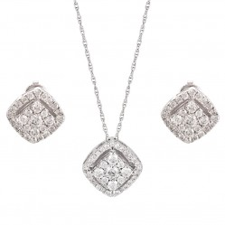 9ct White Gold Diamond Pendant and Earrings Set SKS16968-100