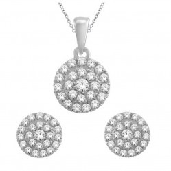 9ct White Gold Cluster Diamond Pendant and Earring Set SKS19231-50