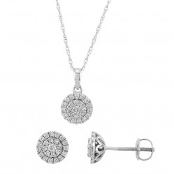 9ct White Gold 0.50ct Diamond Cluster Halo Jewellery Set SKS19231-50