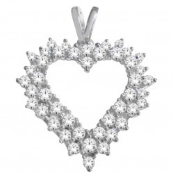 9ct White Gold 1.00ct Diamond Open Heart Pendant SKP20494-100