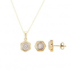 9ct Gold Hexagonal Diamond Pendant and Earring Set SKS0001-15