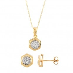 9ct Yellow Gold 0.15ct Diamond Cluster Hexagonal Jewellery Set SKS22154-15