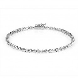 9ct White Gold Diamond Tennis Bracelet SKB15917-100 9CT