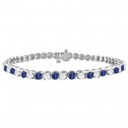 9ct White Gold Sapphire and Diamond Tennis Bracelet SKB15917-100SD 9CT