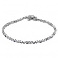 9ct White Gold Sapphire and Diamond Tennis Bracelet SKB15917-100SD 9CT