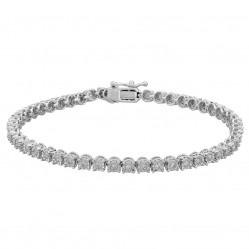 Sterling Silver 1.00ct Illusion-set Diamond Tennis Bracelet SKB18706-100