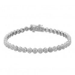 9ct White Gold 3.00ct Diamond Flower Cluster Tennis Bracelet SKB23595-300