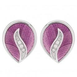Sterling Silver Pink Enamel and Diamond Stud Earrings NE0069WC