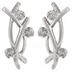 Sterling Silver Diamond-set Wave Dropper Earrings SET 19 E/RINGS