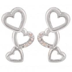 Sterling Silver Diamond-set Triple Heart Dropper Earrings SET 1 E/RINGS