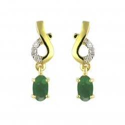 9ct Gold Diamond Emerald Dropper Earrings 123E0661-01/9