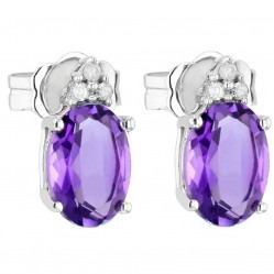 9ct White Gold Amethyst and Diamond Oval Stud CE4843 9KW-AMY