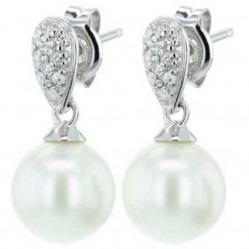 9ct White Gold Diamond Freshwater Pearl Dropper Earrings GE704W