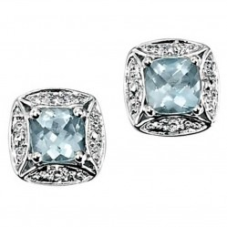 9ct White Gold Diamond Aqua Square Stud Earrings GE732T