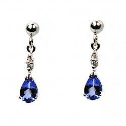 9ct White Gold Tanzanite and Diamond Teardrop Earrings H40-5394-66W